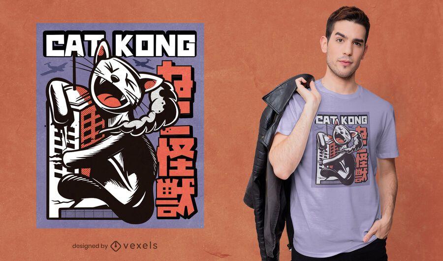 Design de camiseta Cat kong