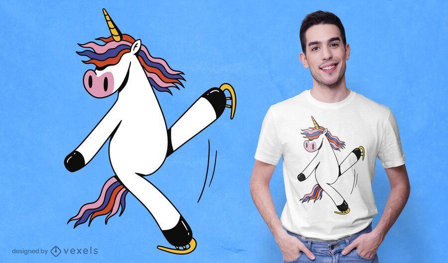 Diseño de camiseta de patinaje unicornio.