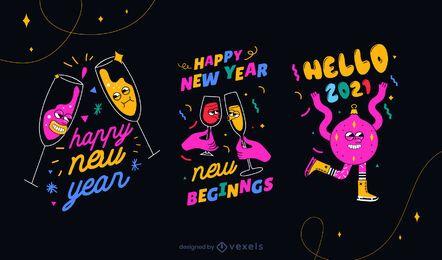 Conjunto de insignias de año nuevo 2021