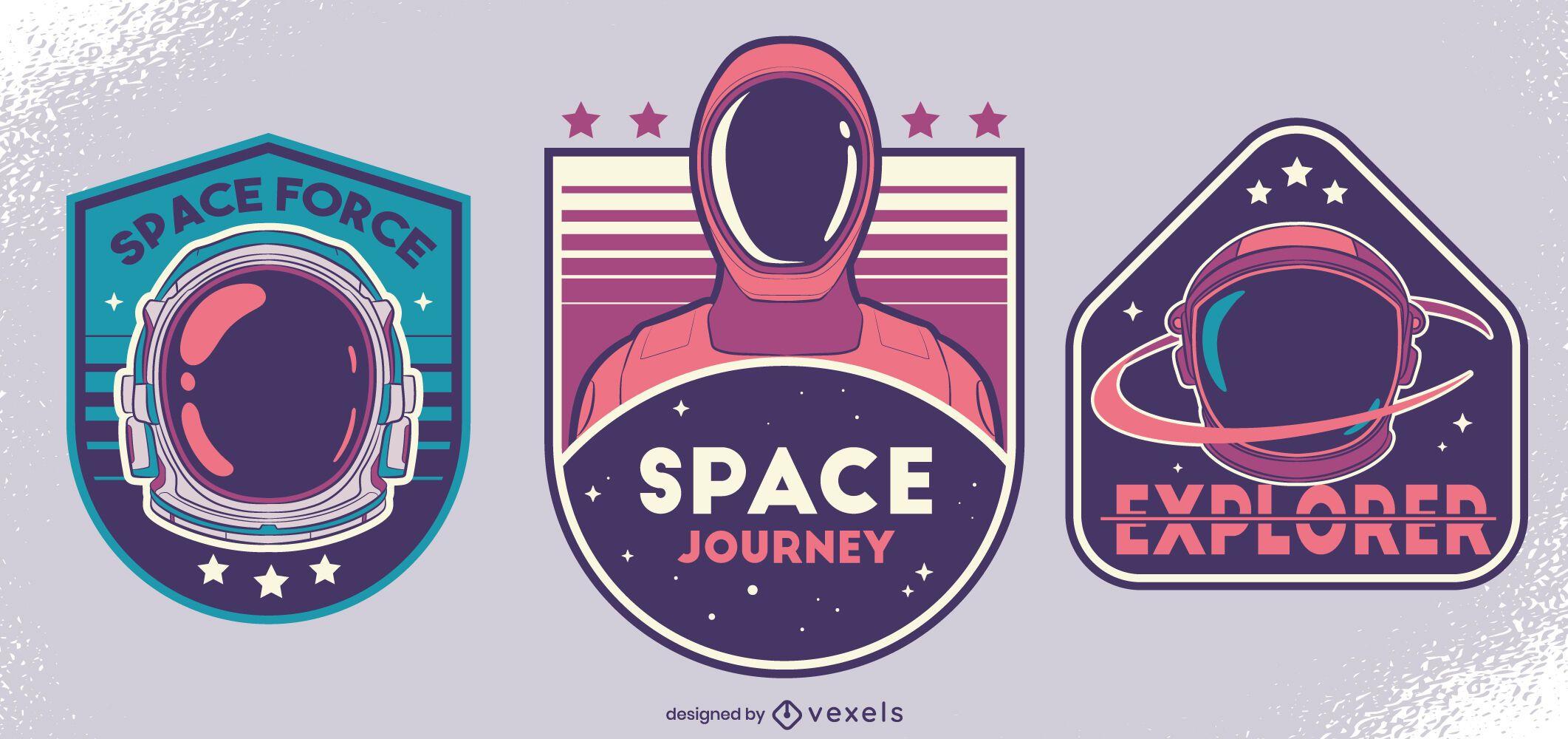 Space force badge design set