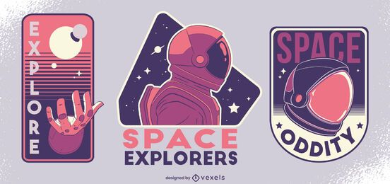Space explorers badge design set