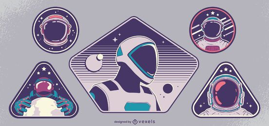 Conjunto de design de distintivos de astronautas