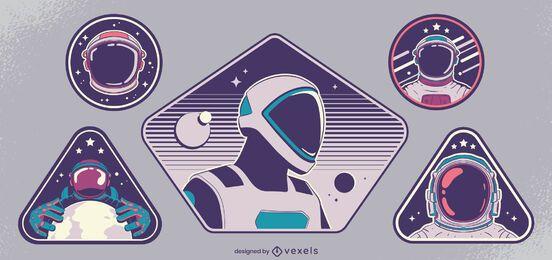 Raumfahrer Abzeichen Design-Set