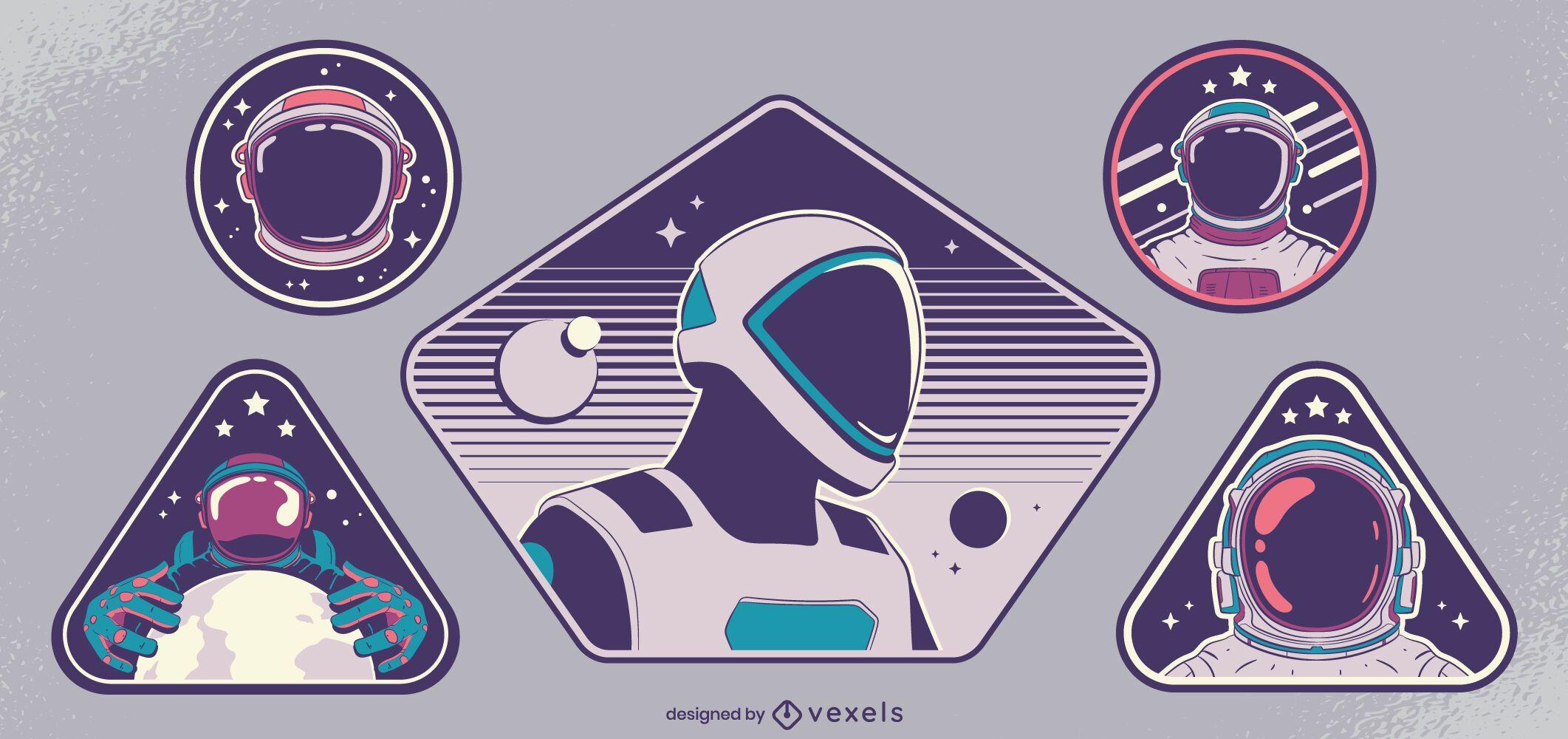 Spacemen badge design set