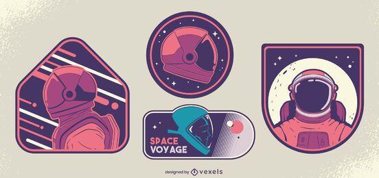 Conjunto de design de crachá de cosmonauta