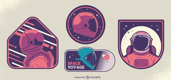 Cosmonaut badge design set