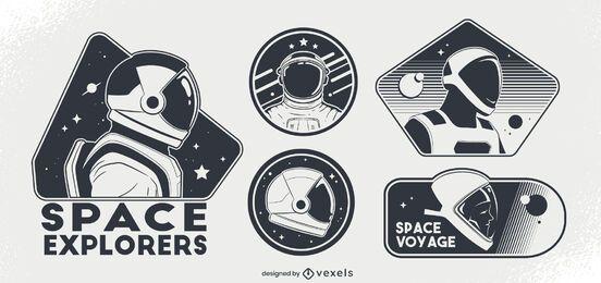 Conjunto de distintivos de astronautas espaciais