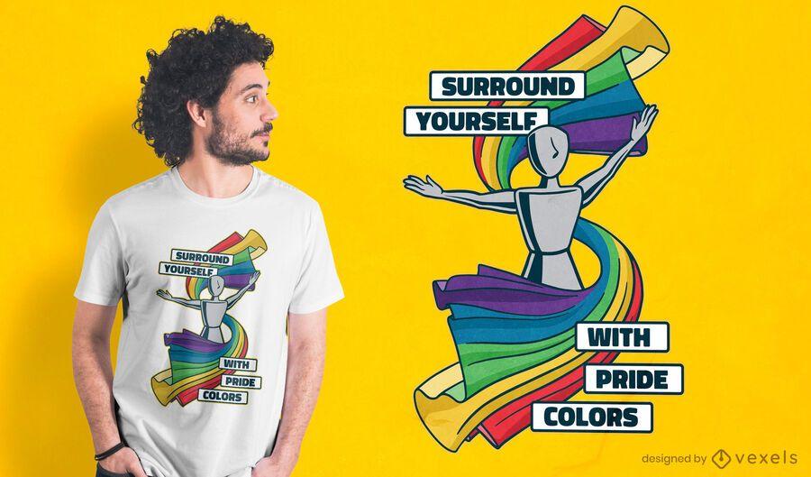 Design de camisetas com cores do orgulho