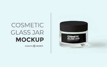 Cosmetic glass jar mockup design