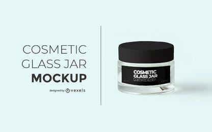 Design de maquete de frasco de vidro cosmético