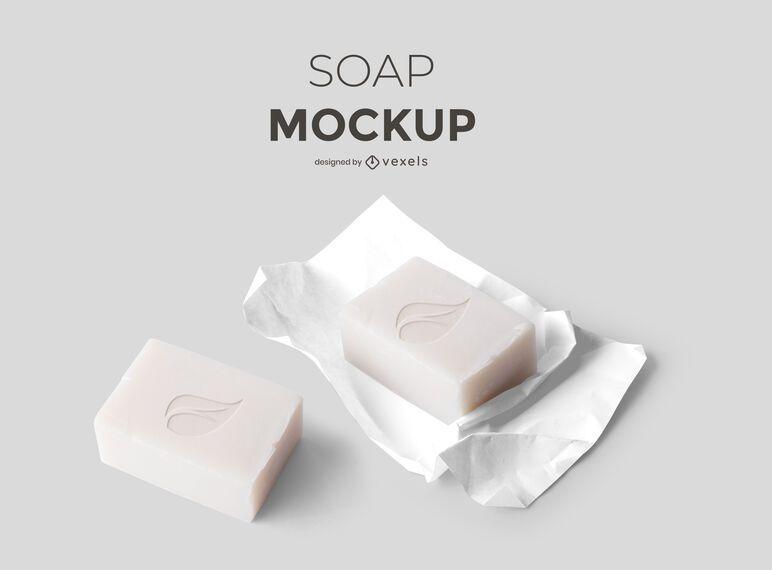 Design de maquete de conjunto de sabonete