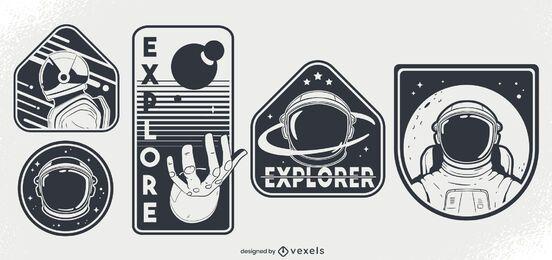 Conjunto de design de distintivo espacial de astronautas