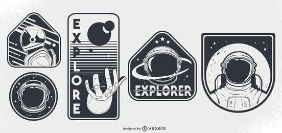 Conjunto de diseño de insignia espacial de astronautas