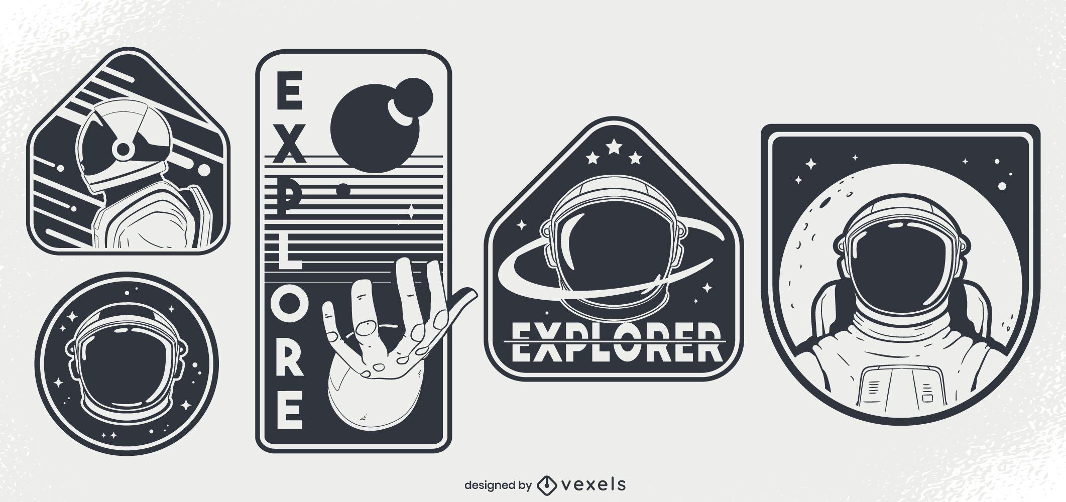 Astronauts space badge design set
