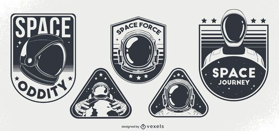 Space oddity badge design set