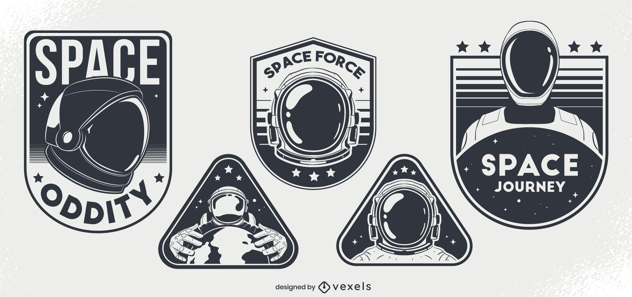 Conjunto de diseño de insignia de rareza espacial