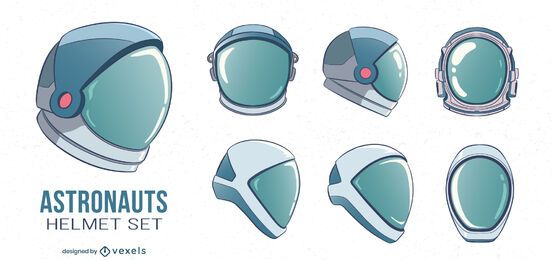 Astronaut helmets illustration set