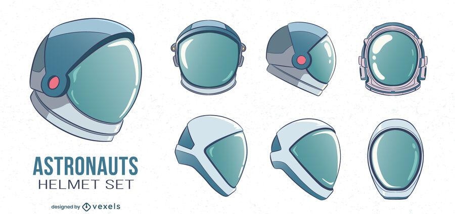Astronaut helmets illustration set