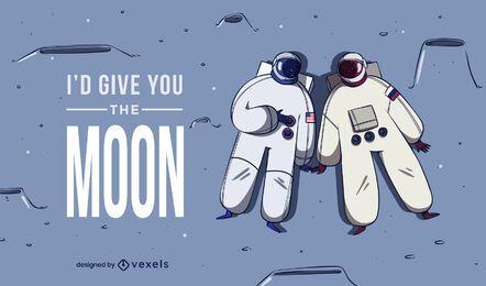 Los astronautas aman el diseño de ilustraciones