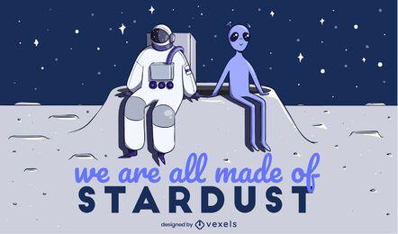 Astronauta e ilustração alienígena