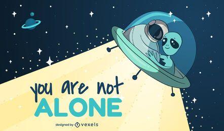 Você não está sozinho ilustração do espaço