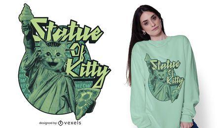 Estatua del diseño de camiseta de gatito