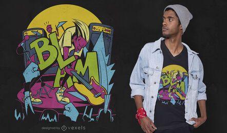 Diseño de camiseta rockstar smash guitar