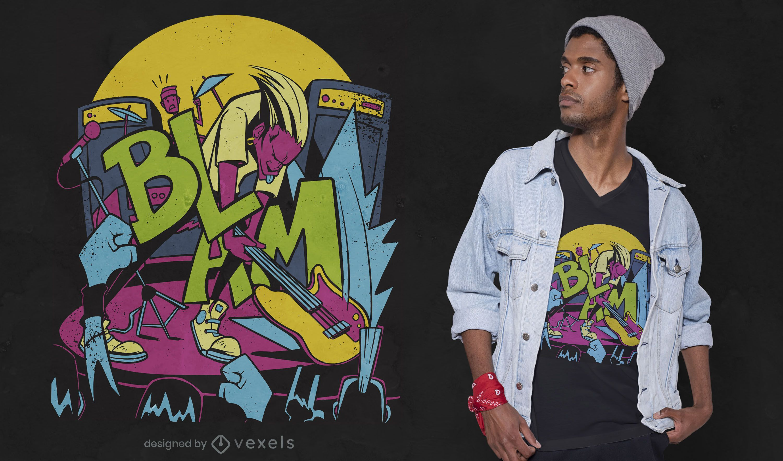 Rockstar smash guitar t-shirt design