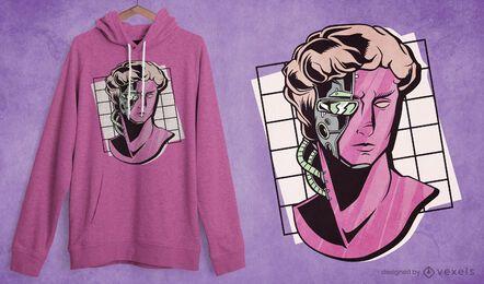 Design de camiseta com estátua de ciborgue