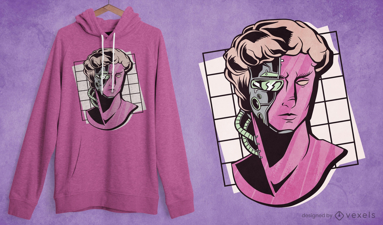 Cyborg statue t-shirt design