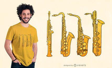Diseño de camiseta familiar de saxofón.