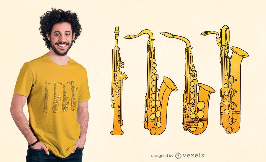 Saxophone family t-shirt design