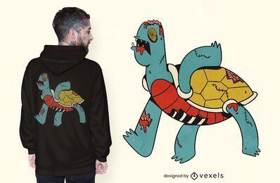 Diseño de camiseta de tortuga zombie