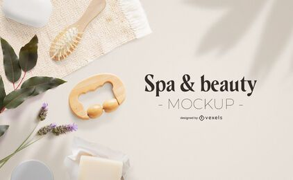 Composición de maqueta de spa y belleza