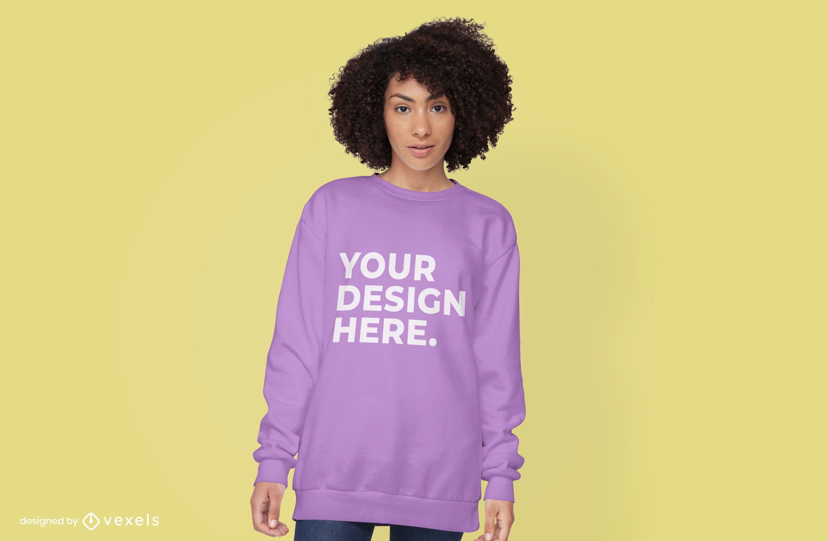Female model hoodie mockup psd design