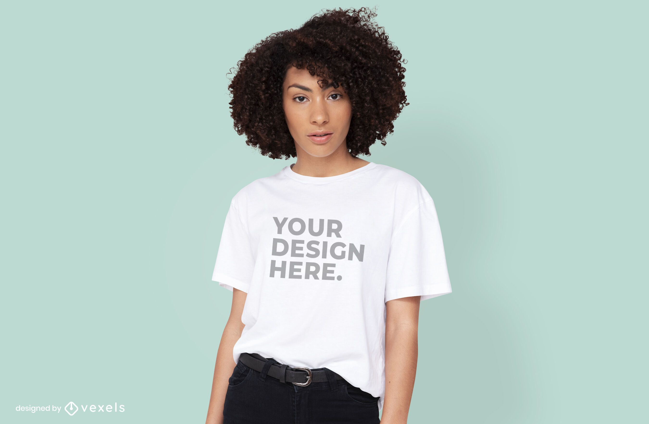 Female model t-shirt psd mockup design