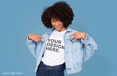 Modelo com design de maquete de jaqueta jeans