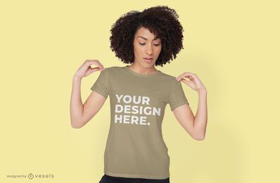 Woman t-shirt mockup psd design
