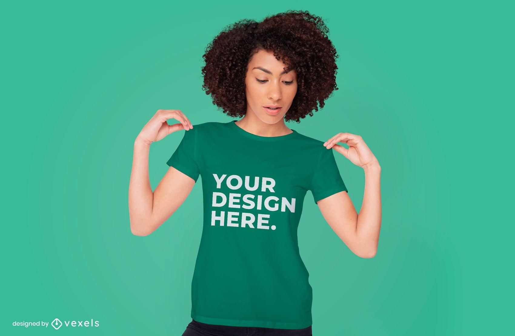 Woman t-shirt mockup psd design