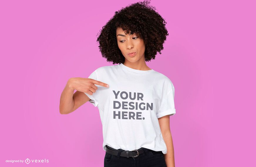 Woman t-shirt psd mockup design