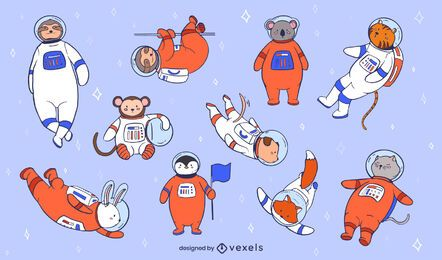 Astronaut animals illustration set