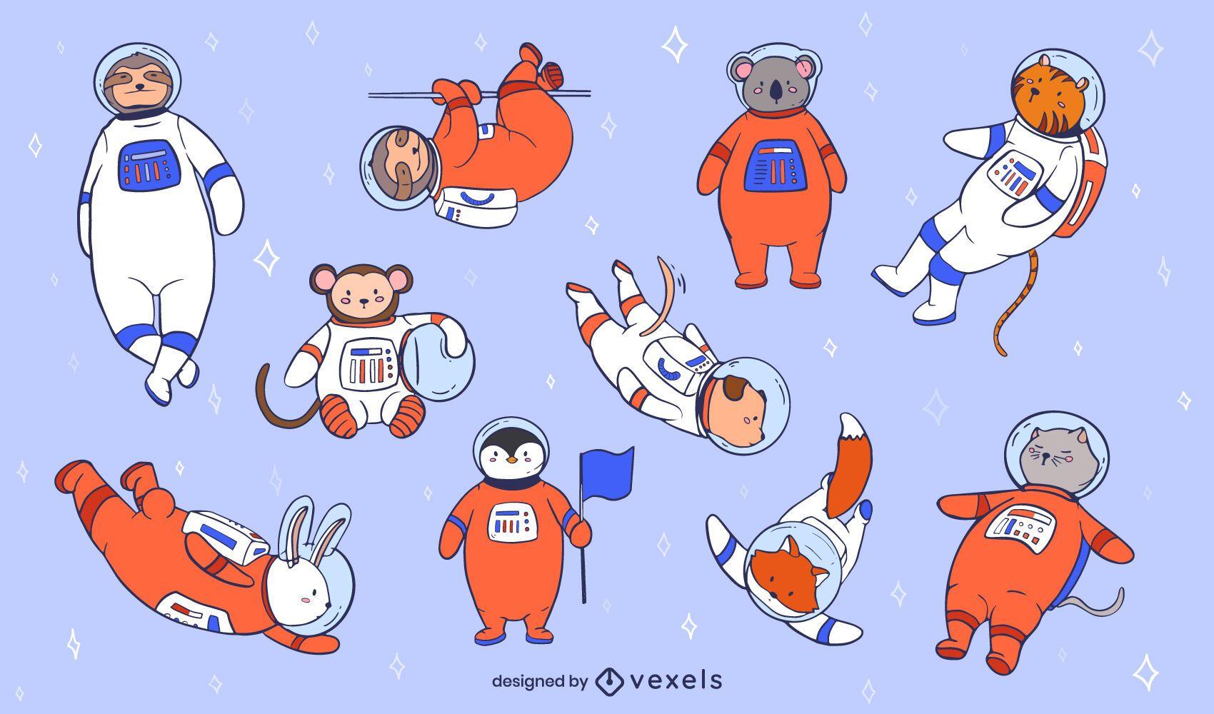 Conjunto de ilustração de animais astronautas