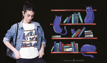 Bibliothek Katzen T-Shirt Design