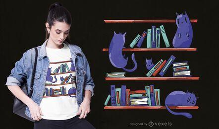 Diseño de camiseta de gatos de biblioteca.