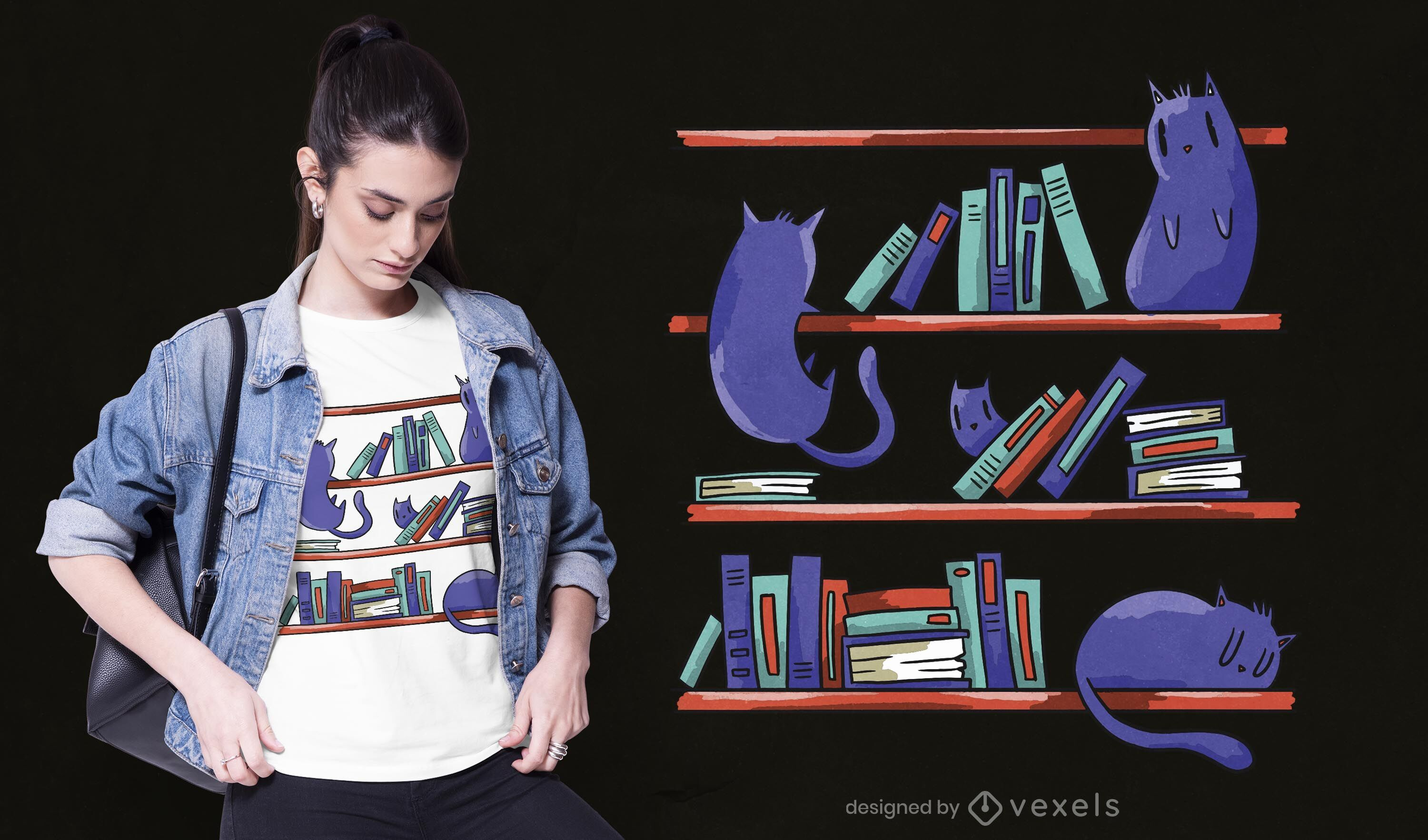 Library cats t-shirt design