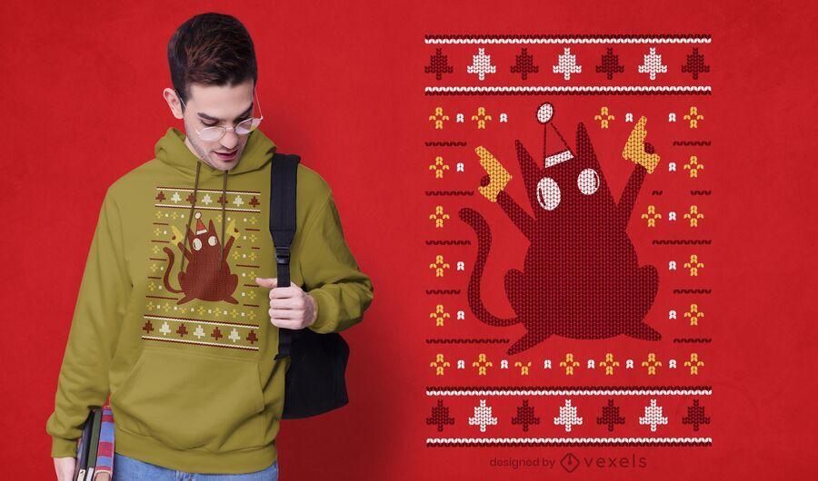 Suéter feio com design de camiseta para gato