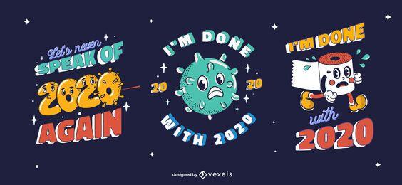 Anti new year funny badge set