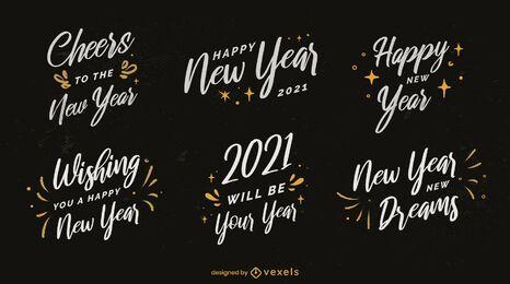 Paquete de insignias de año nuevo 2021