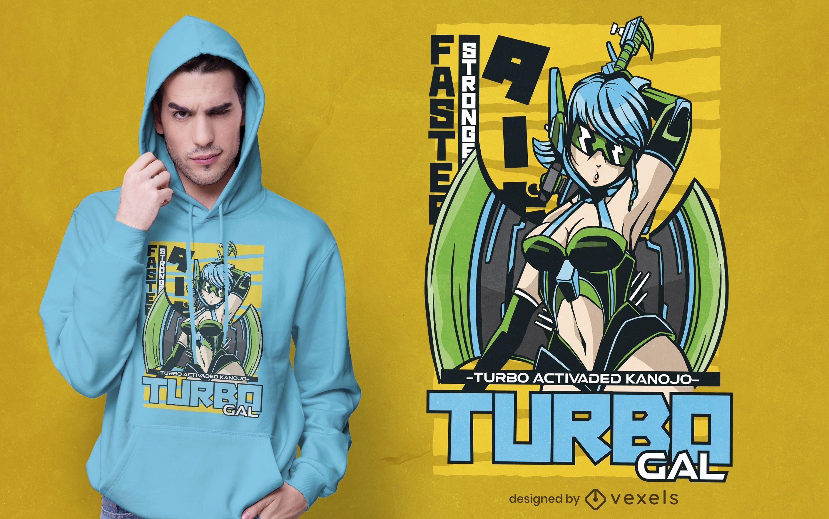 Turbo gal t-shirt design