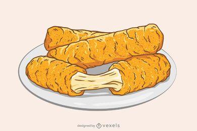 Diseño de ilustración de palitos de mozzarella